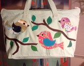 CUSTOM ORDER Birds on zip top tote bag
