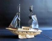 Vintage Ship TV Lamp with Metal Sails / Retro Nautical Themed Home Decor