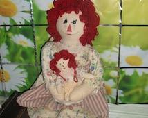 Handmade Large Raggedy Ann Doll - with her own Raggedy Ann doll