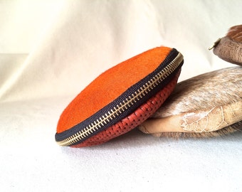 SALE Leather Coin Wallet, Leather Coin Purse, Leather Coin Tray, Leather Clam Purse, Leather Coin Wallet, hair on hide, Orange
