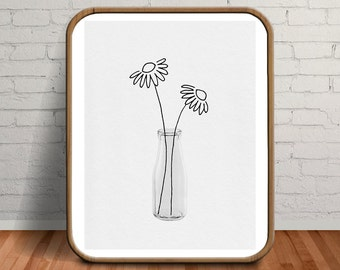 Flower Drawing, Wife Photo Gift, Photo Gift, Gift for Women, Girlfriend Gift, Girlfriend Photo Gift, Couples Gift, Extra Large Art