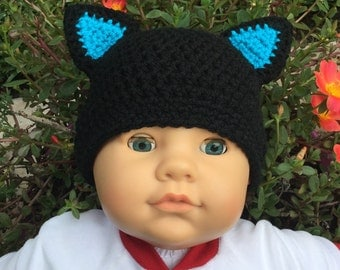 Black and Turquoise Baby Cat Hat