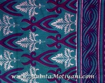 Bondi Blue Cotton Saree Fabric By Yard, Ethnic Floral Hand Block Print Indian Fabric, Unique Designer Indian Sari Fabric, Bellydance Fabric