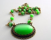 Green Cats Eye Antique Bronze Necklace ~ Vintage Cat's Eye Beaded Chain