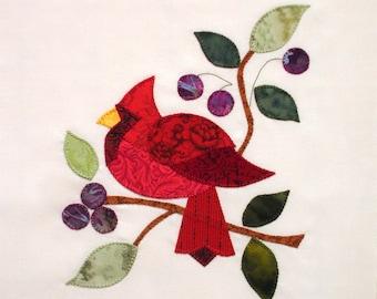 Red Cardinal Baltimore Album Appliqued  Quilt Block