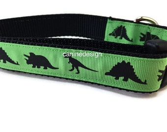 Dog Collar, Green Dino, Dinosaur, 1 inch wide, adjustable, quick release, metal buckle, chain, martingale, hybrid, nylon