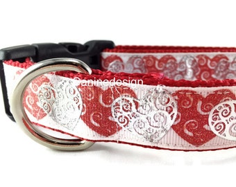 Valentine's Dog Collar, Double Hearts, 1 inch wide, adjustable, quick release, metal buckle, chain, martingale, hybrid, nylon
