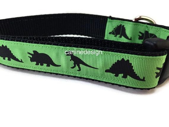 Dog Collar, Green Dino, Dinosaur, 1 inch wide, adjustable, quick release, metal buckle, chain, martingale, hybrid, nylon
