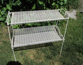 Metal Stand Vintage 2 Tier White Book Shelf Plant Stand