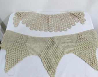 Vintage Crochet Lace 2 Pieces Ecru Handmade Trim