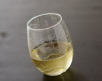 Denver Maps Stemless Wine Glass