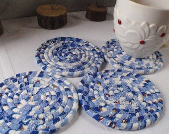 Blue and White Winter Coiled Coasters - Set of 4 For Your Kitchen, Handmade by Me