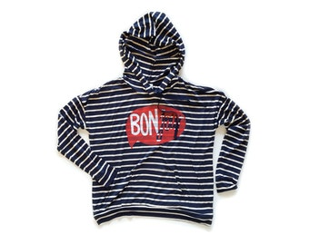 Bonjour Hoodie - Oversized Lightweight Jersey Pullover Hooded Sweatshirt in Navy and White Stripe - Women's S M