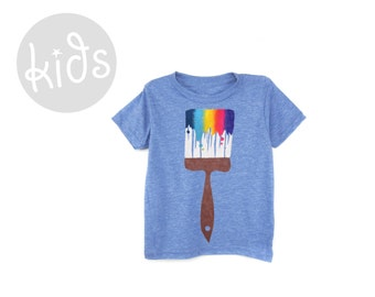 Paint Brush Tee - Crew Neck Short Sleeve Cotton Graphic Tshirt in Heather Blue and Rainbow - Baby Kids & Youth