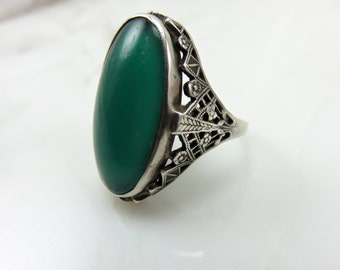 Circa 1920  Sterling Silver and Chrysoprase Ring