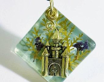Silver Castle Real Flowers Nature Necklace Resin Pendant Bohemian Jewelry Fantasy Landscape Blue Purple Green