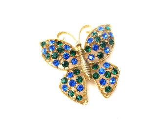 Unmarked Vintage Gold Tone Metal Sapphire Blue & Emerald Green Rhinestone Butterfly Insect Brooch