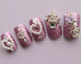 Lilac Princess Fake Nails, Kawaii Fake Nails, Japanese 3D Nail Art, Press On Nail, Cosplay, Hime Gyaru, Japanese Fake Nail- Acrylic Nail,