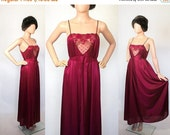 Vintage 70s Lingerie Nightgown / Red Wine Plum Nightie Boudoir / Negligee Sleepwear / 1970s Grecian Goddess Empire Maxi Dress  / Medium