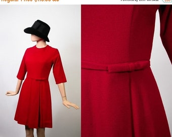 50s Woven Wiggle Dress / Va-Va-Voom Bombshell Party Cocktail Evening Dress / 1950s Hourglass / Maraschino Cherry Red / Bow / Pin Up / Small