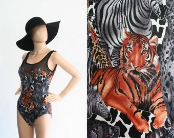 Vintage Jungle Cat  Animal Novelty Print Bathing Suit / 1990s Safari Swim Suit / 90s  Swimsuit Maillot One Piece Beachwear / Medium / Large