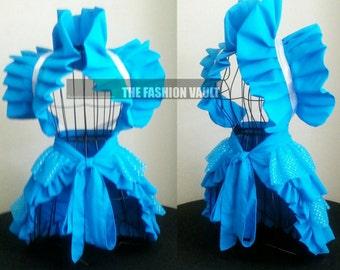 Summer sale Alice in Wonderland  bustle apron and Shrug Burlesque skirt Jasmine cosplay dance costume