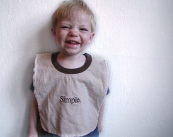 Simple--Baby/Toddler Bib, Upcycled, Recycled T-Shirt, Reversible, Large, Shower Gift, Brown, Sesame Street, Alphabet