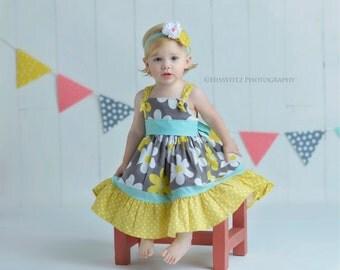 Sale- Girls Dress- Summer Daisy- by Melon Monkeys- Summer 2016