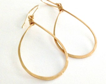 Teardrop Gold Hoop Earrings. Hand Hammered Shiny Large Gold Hoops.