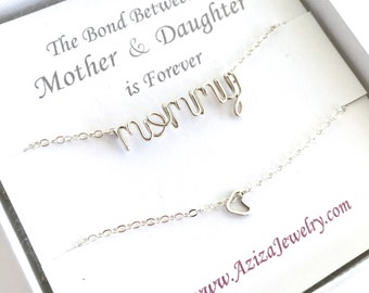 Matching Mother Daughter Necklaces. Sterling Silver Mommy Necklace and Heart Necklace Set.