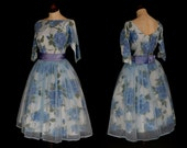 Original Vintage 1950s Blue Floral Summer Party Dress - Medium - FREE SHIPPING WORLDWIDE