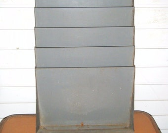 Vintage Industrial Wall Hanging File Holder Grey Metal Office Organizer 17x12""