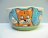 Fox Bowl, Small Blue Bowl with Orange Fox and Magic Psychedelic Candy, Small Cereal Bowl or Dessert Bowl, Animal Pottery