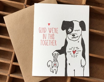 Letterpress Zombie Friendship Card with Zombie Dog and Undead Squirrel, Glad We're In This Together, BFF's
