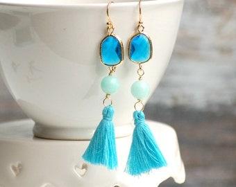 Tassel Earrings Turquoise Gold Boho Aqua Earrings Pom Pom Earrings Tribal Bohemian Summer Festival