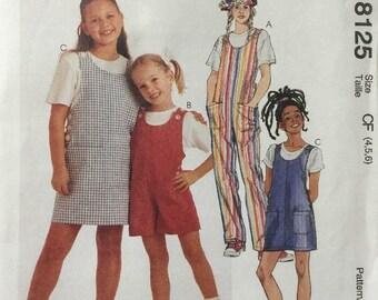 McCall's 8125 Children's Jumper, Jumpersuit, Romper Size 4-5-6  New-Uncut