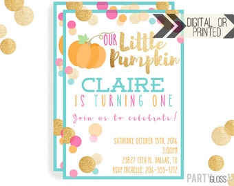 Pumpkin Invitation | Digital or Printed | Pumpkin Party | Glitter Pumpkin Invite | Girl Pumpkin | Pink Aqua Gold Invitation | Little Pumpkin