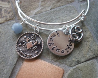 Cancer Adjustable Bangle - Zodiac Jewelry - What's Your Sign - Water Element - Horoscope Bracelet