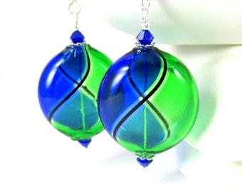 Cobalt Blue Green Blown Glass Earrings, Murano Earrings, Statement Earrings, Large Light Weight Earrings, Colorful Jewlery, Dangle Earrings
