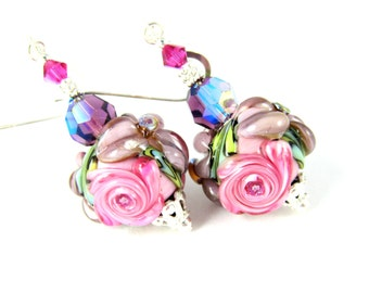 Floral Earrings, Purple Flowers Pink Rose Dangle Earrings Romantic Jewelry Chintz Earrings Victorian Glass Earrings Pastel Lampwork Earrings