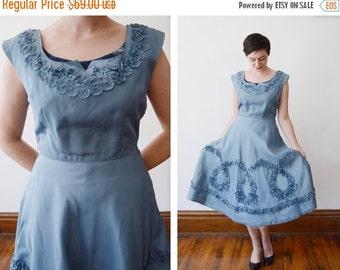 SUMMER SALE 1950s Blue Taffeta Party Dress - S/M