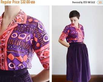 SUMMER CLEARANCE 1960s Pink and Purple Printed Shirt - M