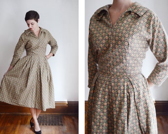 1950s Handmade Brown Patterned Dress - M