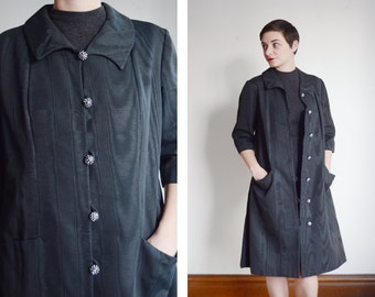 1960s Black Dress Coat - M