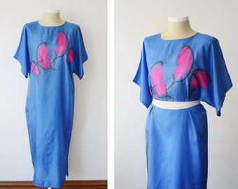 80s Painted Silk Caftan with Matching Jacket - M