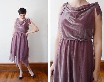 Purple and Silver Metallic 1970s Disco Dress - S