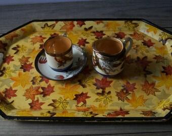 Vintage Tray ~ Orange & Yellow Leaves ~ Serveware