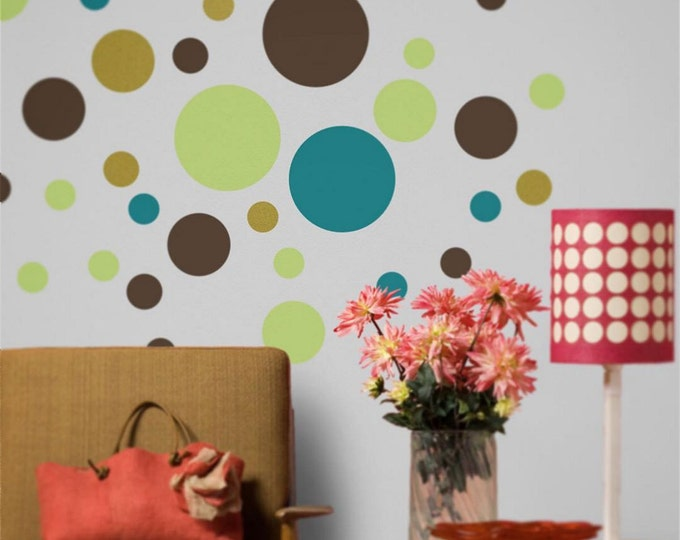 polka dot vinyl wall decal art, bubbles, polka dot sticker art, circles vinyl patterns, FREE SHIPPING