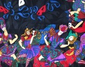 SILK MARDI GRAS by Christian Dior vintage 1970s 70s very Large Silk Scarf to wear or decor a room with