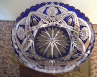 Vintage Cut Glass ~ Clear Crystal to Cobalt  Bowl ~ Bohemian